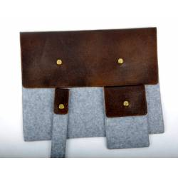 Leather kit for laptop + mobile phone + pen