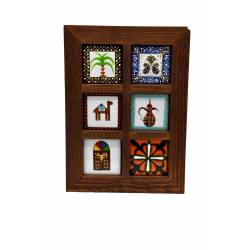 Frame with 6 pieces of ceramic