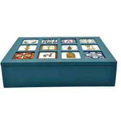 Wooden Box with 12 Ceramic Pieces